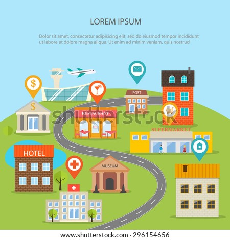 City map infographics with buildings set and pins. GPS navigation concept, vector illustration