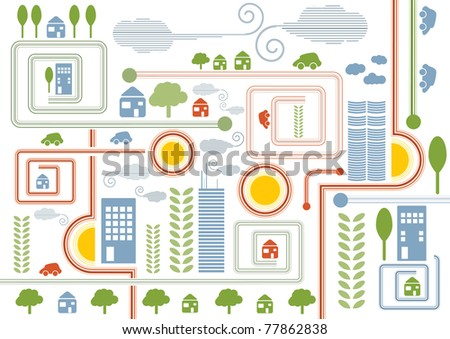 City map retro illustration with colorful icons of cars, trees and buildings, vector illustration