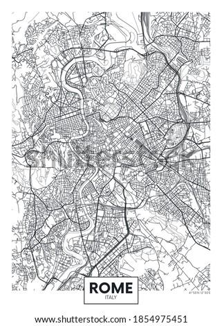 City map Rome, travel vector poster design Сток-фото ©