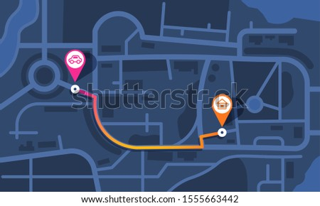 City map route. Flat theme GPS navigation map with streets parks and river, simple map with route and pins. Vector creative cartoon mockup with location symbols routs and navigational system mark