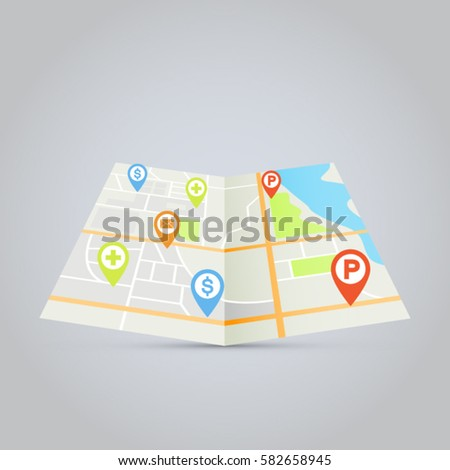 City map vector illustration with pins for hospital, bank, parking lot and post office