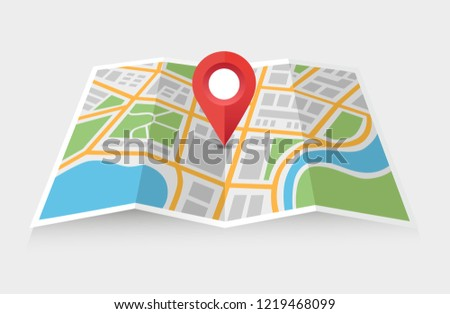 City map with a pointer showing location - can illustrate any topic about traffic and navigation
