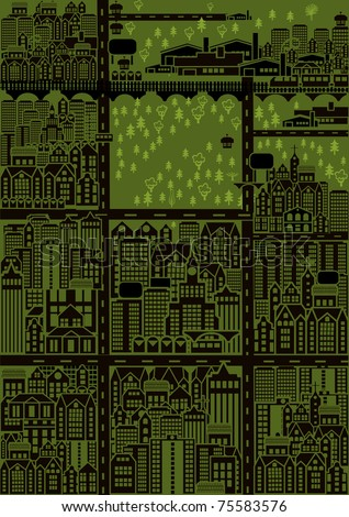 City map with buildings and trees