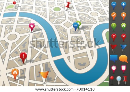 City map with GPS Icons.