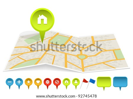 City map with labels. Vector illustration.