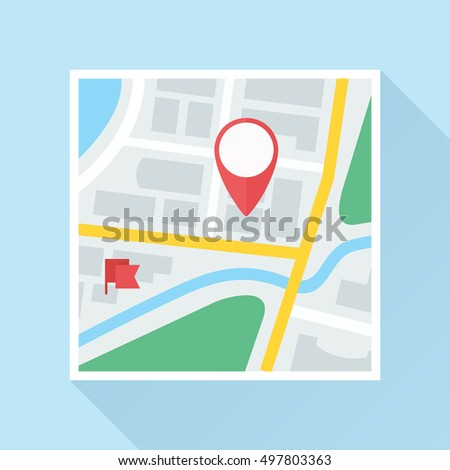 City map with location mark and flag label. Colored flat icon. Vector eps8 illustration.