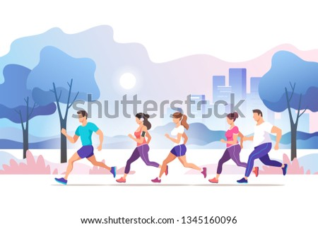 City marathon. Group people running in the city public park. Healthy lifestyle. Trendy style vector illustration. #1345160096