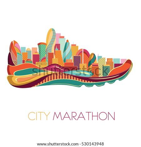 City marathon. Poster - running, sport shoe and the city. Vector illustration.