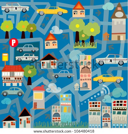 city maze traffic seamless pattern