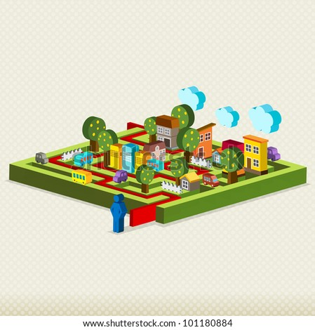 City maze, Vector illustration fo maze