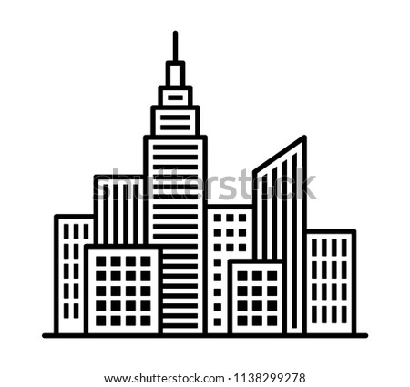 City metropolis skyline with tall buildings and high rises line art vector icon for apps and websites