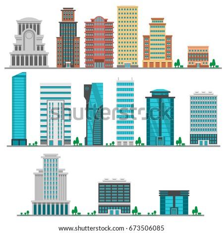 City modern flat buildings