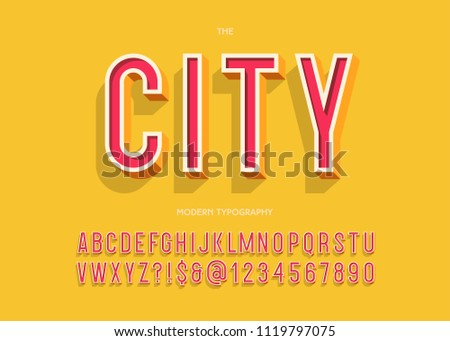 City modern typeface 3d typography colorful style for party poster, t shirt, promotion, kids book, greeting card, sale banner, printing on fabric, decoration, stamp. Cool font. Trendy alphabet 10 eps