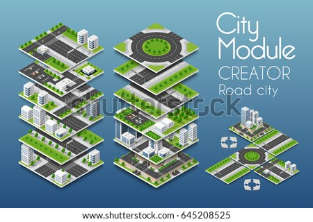 City module creator isometric concept of urban infrastructure business. Vector building illustration of skyscraper and collection of  elements architecture, home, construction, block and park