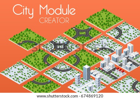 City module creator isometric concept of urban infrastructure business. Vector building illustration of skyscraper and collection of town elements architecture, home, construction, block and park