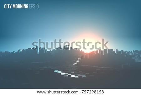 city morning landscape