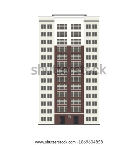 City multi storey building exterior front view with windows, balconies and doors in flat style isolated on white background. Modern high-rise apartment or office building. Vector illustration Сток-фото ©