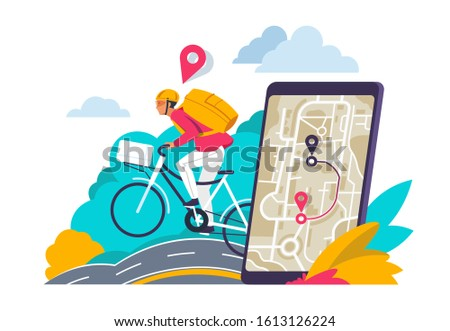 City navigation concept. Cartoon travelers looking for route in city map on smartphone or laptop. Vector GPS navigation illustration city directions for app mobile equipment