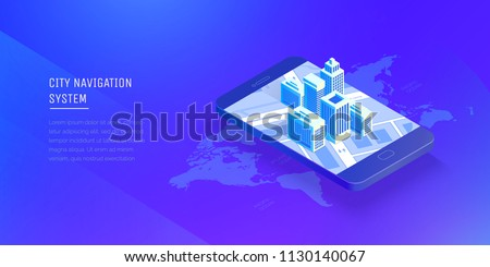 City navigation system. Smart city in a mobile phone. Mobile application for navigation. Modern vector illustration isometric style.