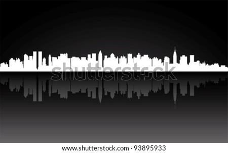 City New York panorama, vector