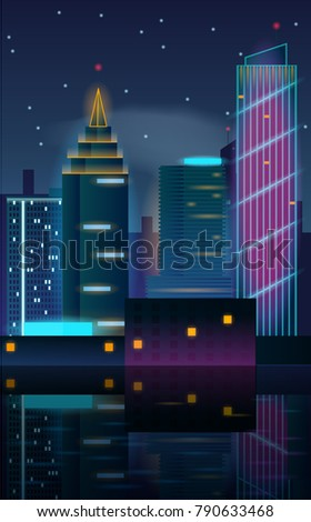 city night in neon lights with