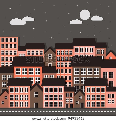 city night scene - eps10 - stock vector