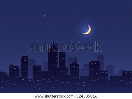 city night with moon and stars