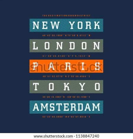 city of destination typographic t shirt design, vector illustration modern image