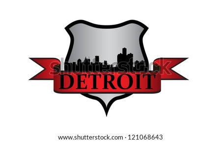 City of Detroit crest with high-rise buildings skyline