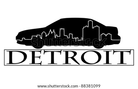 City of Detroit high-rise buildings skyline.