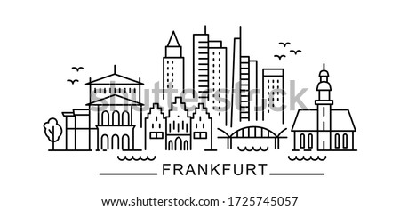 city of Frankfurt in outline style on white
