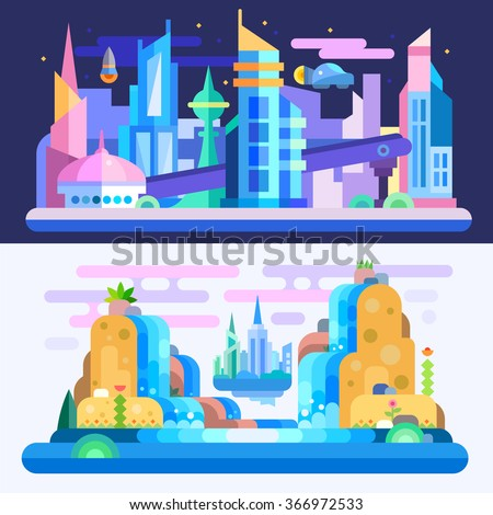 City of future!  Amazing alien-look landscape and city scape with floating town, skyscrapers, flying cars, waterfalls on another planet. Flat vector illustration set.