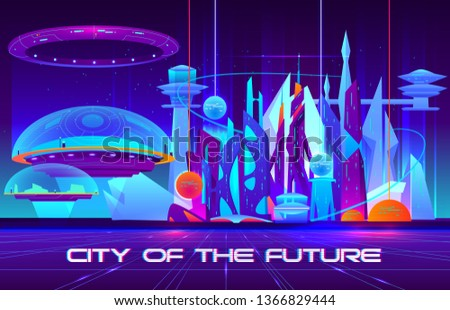 City of future cartoon vector banner. Futuristic architecture skyscrapers buildings fluorescent, neon color illustration. Extraterrestrial, space colony, flying metropolis under defensive power dome