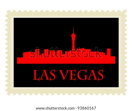 City of Las Vegas high-rise buildings skyline with stamp