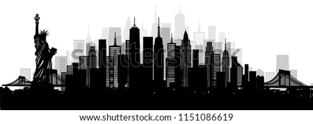 City of New York,America with world famous landmarks and city skyline, vector silhouette illustration