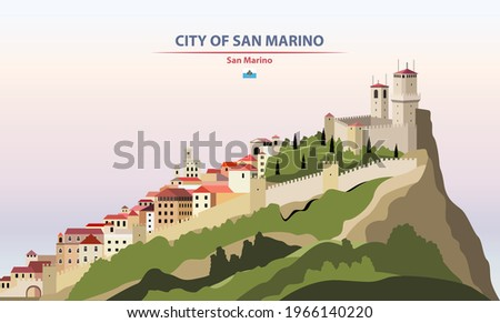 City of San Marino cityscape on sunset sky background vector illustration with country and city name and with flag of San Marino Foto stock ©
