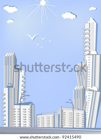 City of skyscrapers from paper