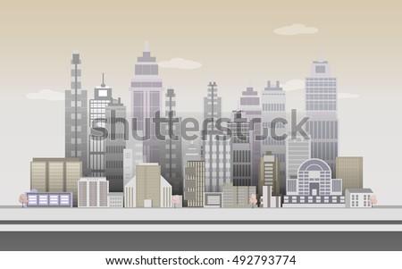 city of skyscrapers in vintage...