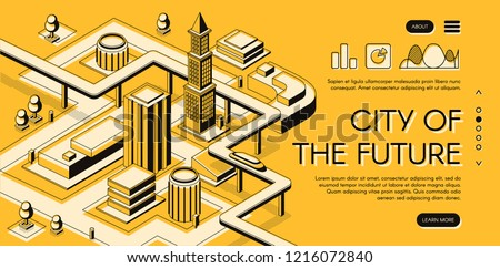City of the future isometric vector web banner with futuristic car moving on overpass highway between skyscrapers buildings thin line art illustration. Architectural bureau, urban project landing page