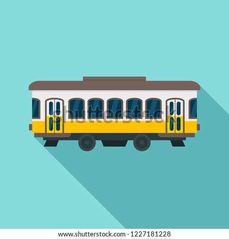 City old tram icon. Flat illustration of city old tram vector icon for web design