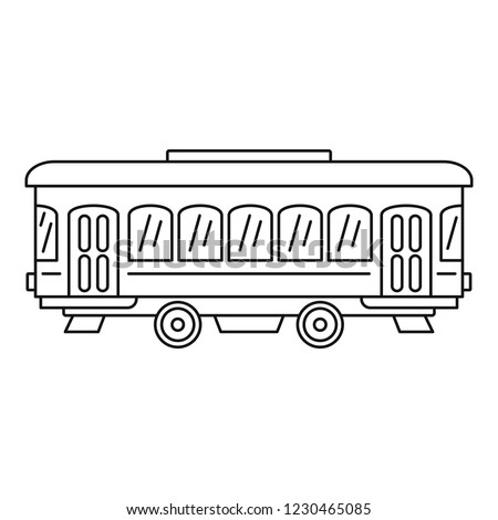 City old tram icon. Outline city old tram vector icon for web design isolated on white background