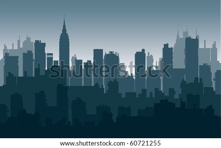 city on a background sunset of