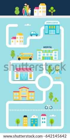 City or Town Facilities Infographics Road Map Style Template. Vector Illustration