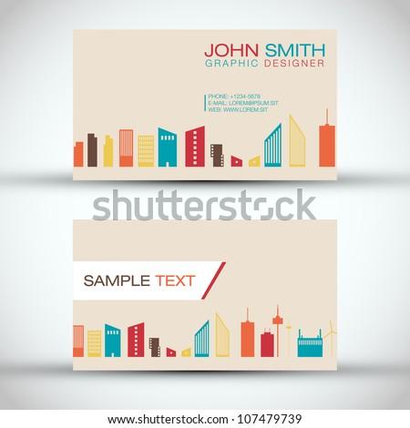 City Panorama Business Card Set   EPS10 Vector Design