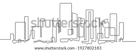 City Panorama Continuous One Line Drawing. Skyscrapers Contour Illustration. City Landscape Modern Minimalist One Line Drawing. Vector EPS 10