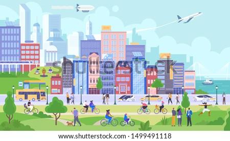 city panorama flat vector