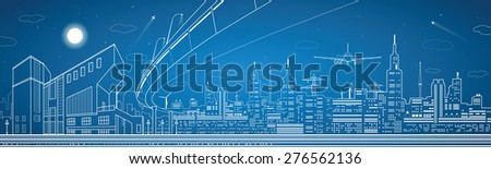 Stock Photo City panorama, night town, infrastructure landscape, planes take off, flyover, vector design art