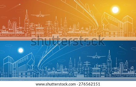 Stock Photo City panorama, night town, infrastructure landscape, planes take off, flyover, vector design, day and night art