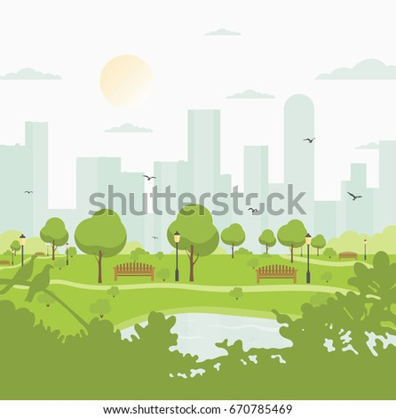 City park against high-rise buildings. Landscape with trees, bushes, lake, birds, lanterns and benches. Colorful vector square illustration in flat cartoon style.