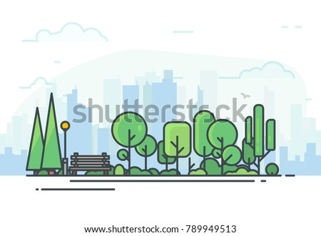 City park bench, lawn and trees. Flat style line vector illustration. On background business city center with skyscrapers. Green park in center of town. Clouds and sky. Parks and recreation concept. ストックフォト ©
